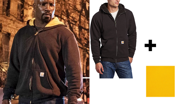 luke cage navy and yellow hoodie cosplay